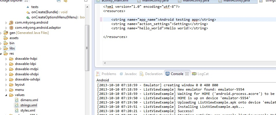 Embedding Multiple Tests in One Android App
